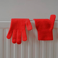 gloves on radiator